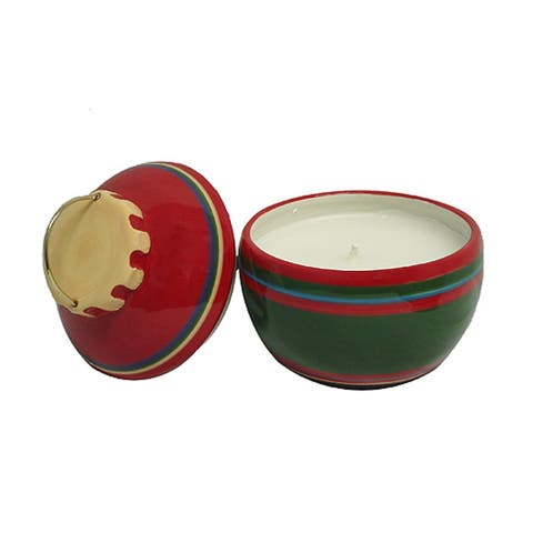 """Set of 2 Red and Green Christmas Ornament Jar Candles 5.25"""""""