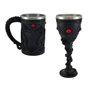 Black Dragon Celtic Knot Stainless Steel Lined Tankard and Chalice Set
