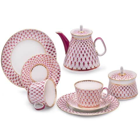 Imperial Porcelain Factory Lomonosov Net-Blues 20 pc. Tea Set for 6