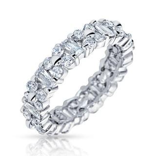 925 Eternity 2mm Ring Sterling Silver Full Shining Cubic Zirconia Women CZ