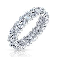 Bling Jewelry Vintage Style Sterling Silver CZ Eternity Wedding Band Ring