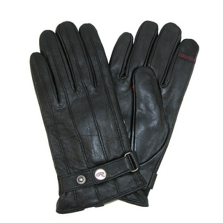 Rawlings Men's Lamb Leather with Adjustable Wrist Strap Touch Screen Glove - Black