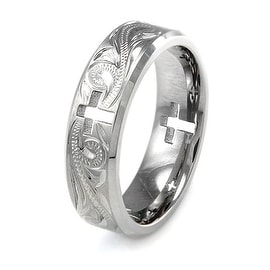 Handcrafted Floral Design Titanium Ring w/ Hollow Cross