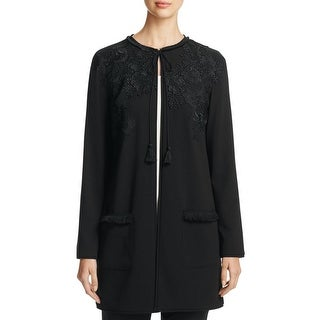 T Tahari Womens Jacket Lace Trim Long Sleeves