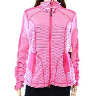 Zella NEW Pink Women's Large L Stand Collar Striped Athletic Jackets