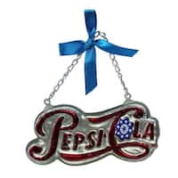 "4.25"" Silver Pepsi Cola Script Logo Word Sign Decorative Glass Christmas Ornament"