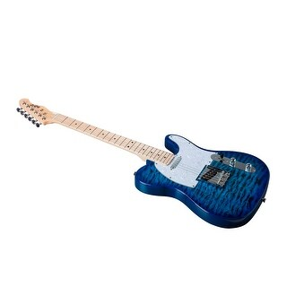 Indio Retro DLX Quilted Maple Top Electric Guitar with Gig Bag Trans Blue
