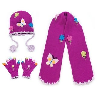 Girls Purple Butterfly Hat Scarf Gloves Handmade Winter Set