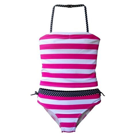 Starfish Little Girls Pink White Stripe Print Tankini Top 2 Pc Swimsuit