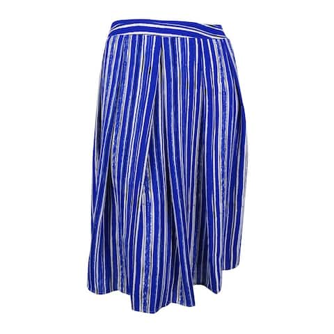 City Chic Women's Plus Size Striped Fit & Flare Skirt (L, Cobalt) - Cobalt - 20W