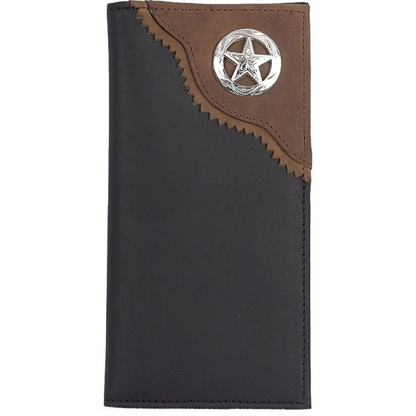 3D Western Wallet Men Leather Rodeo Checkbook Concho Black - One size