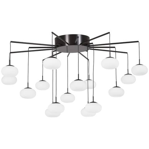"Kovacs P8239-671-L LED 33-1/2"" Wide Integrated LED Semi-Flush Ceiling Fixture with Etched Glass Shades from the George's Web"