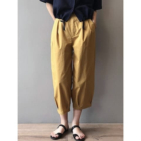 Loose Solid Color Empire Waisted Wide Leg Harem Pants