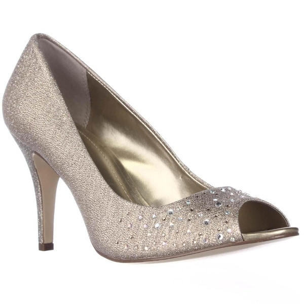 SC35 Monaee Peep Toe Sparkle Dress Pumps, Gold