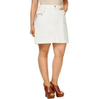 Nanette Lepore Womens Plus Denim Skirt Embroidered Raw Hem