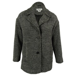 Celebrity Pink Juniors' Wool Blend Boyfriend Coat - Black/Grey