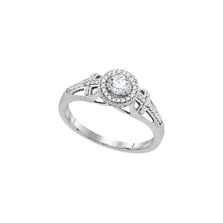 10k White Gold Womens Natural Round Diamond Bridal Wedding Engagement Anniversary Ring 3/8 Cttw
