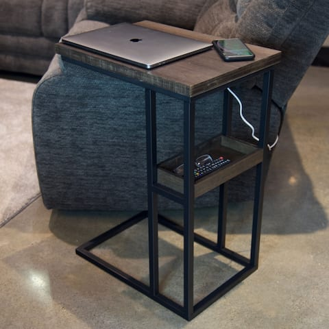 Solid Bamboo Steel Frame C-Table with Tray & Wireless USB Charger