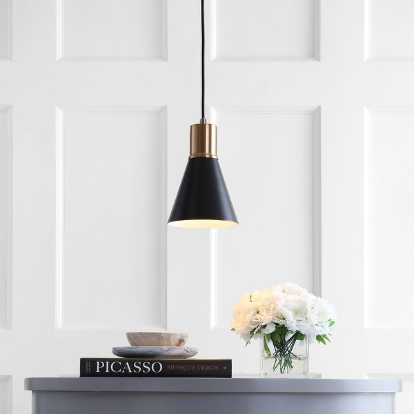 "Apollo 6"" Metal LED Pendant, Black/Brass Gold by JONATHAN Y. Opens flyout."