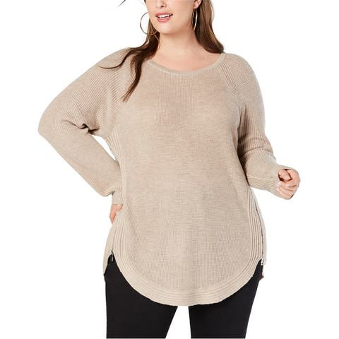 I-N-C Womens Waffle Side Zip Pullover Sweater