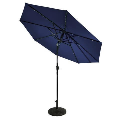 Sun-Ray 9' Round Solar Lighted Umbrella, Base Not Included