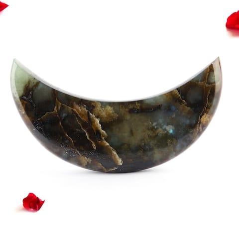 Evaluesell Natural Labradorite Moon, Labradorite Half Moon - L 125 mm x W 42 mm x H 20 mm
