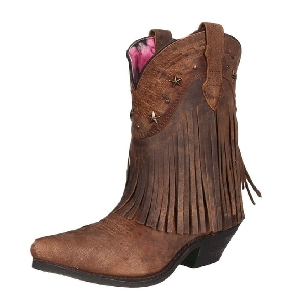 Dingo Western Boots Womens Hang Low Fringe Stars Brown