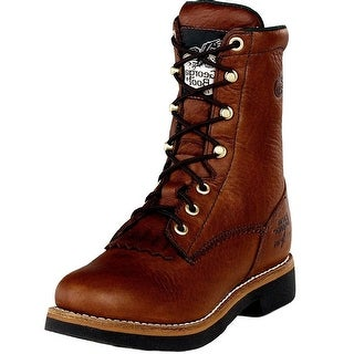 "Georgia Boot Work Mens 8"" Farm N Ranch Lacer Barracuda Walnut G7014