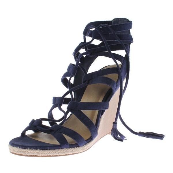 Indigo Rd. Womens Haylei Wedge Sandals Faux Suede Cut-Out - 9.5 medium (b,m)