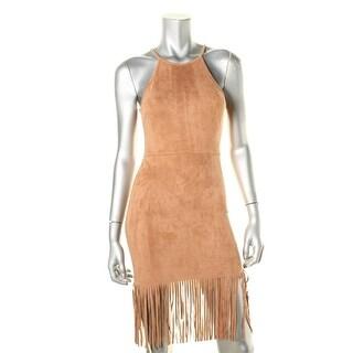 Aqua Womens Mini Dress Faux Suede Fringe