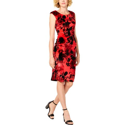 Connected Apparel Womens Wear to Work Dress Velvet Floral Print