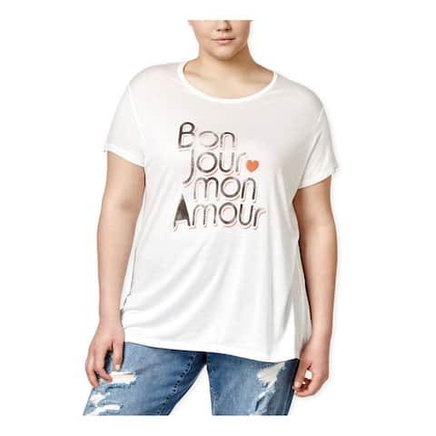 Rachel Roy Womens Curvy Bonjour Graphic T-Shirt