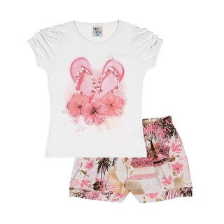 Girls Outfit Graphic Tee and Shorts Kids Set Pulla Bulla Size 2-10 Years