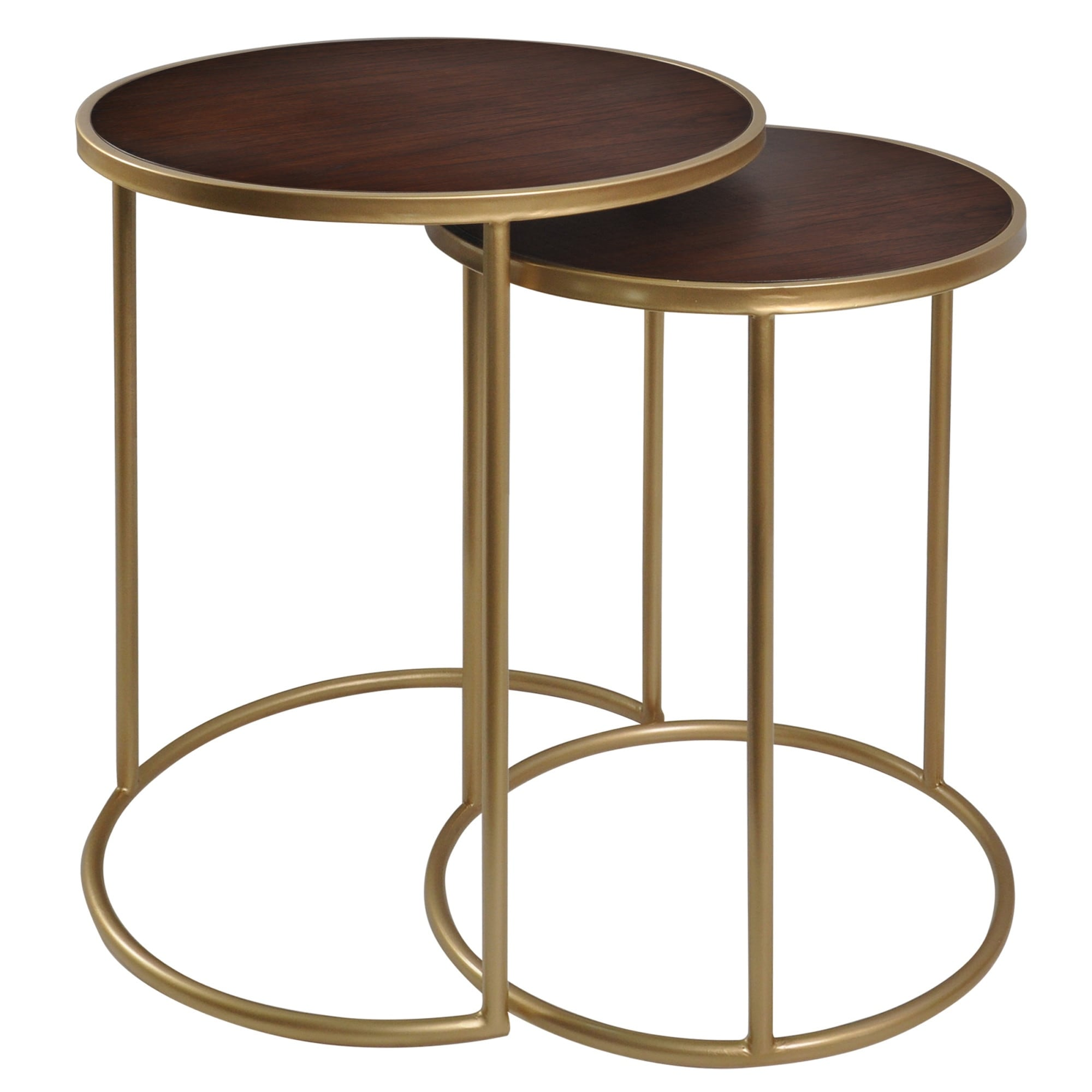 StyleCraft SC-BKF22030  Bryan Keith Mahogany Bay Multiple Sized Wood and Metal Nesting Table - Set of (2) - Gold