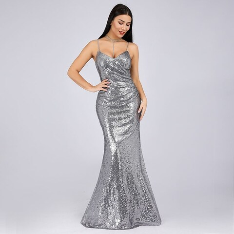 Ever-Pretty Womens Sexy Bodycon Mermaid Sequin Long Evening Cocktail Party Dress 07339