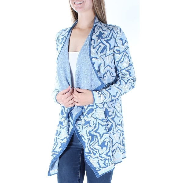 5518053754b Shop Womens Blue Geometric Long Sleeve Open Cardigan Sweater Size M - Free  Shipping On Orders Over  45 - Overstock.com - 24063580