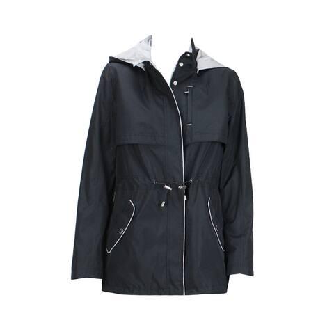 Nautica Petite Black Water-Resistant Hooded Anorak XSP - x-small petite