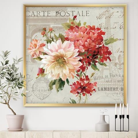 Designart 'Red Painted Flowers on Vintage Postcard I' Traditional Framed Art Print