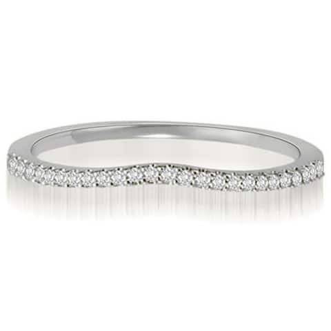 0.15 CT Curved Petite Round Cut Diamond Wedding Ring in 14KT Gold