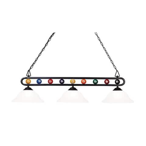 Alston Circle - Three Light Billiard Alabaster Swirl Matte