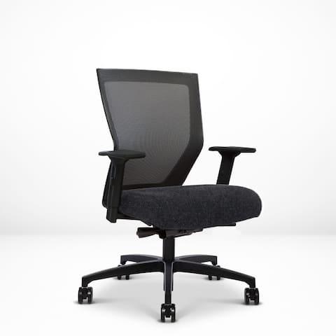 Run II, Ergonomic Mesh Chair, Synchro Tilt, Adjustable Arm, Built-in Lumbar, Black Frame, New Zealand Wool Seat Upholstery