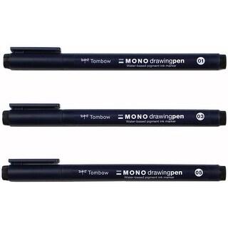 Tombow Mono Drawing Pens 3/Pkg-0.1Mm, 0.3Mm & 0.5Mm Black