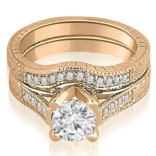 1.00 cttw. 14K Rose Gold Antique Cathedral Round Cut Diamond Engagement Set