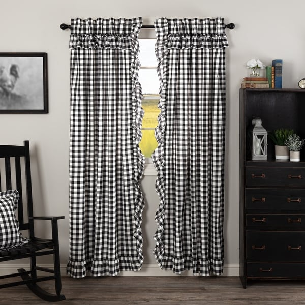 Annie Buffalo Check Ruffled Panel Set - Panel 84x40