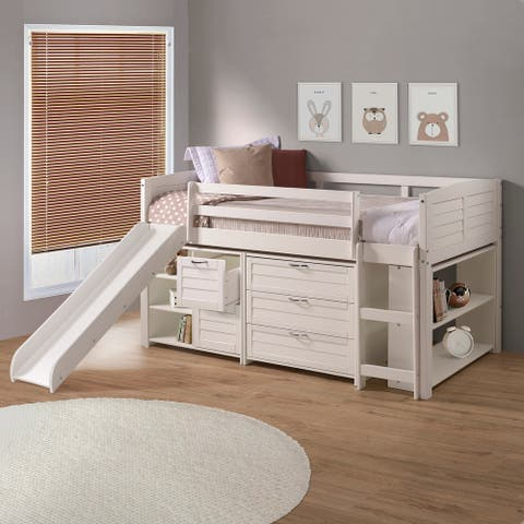 Twin Louver Low Loft in White with Slide, 3 Drawer Chest, 2 Drawer Chest with Shelves or Bookcase