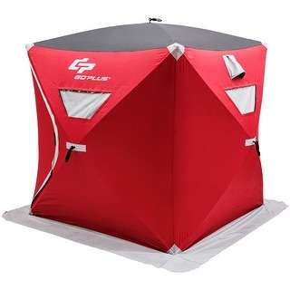 Goplus Portable Pop Up 3 Person Ice Shelter Fishing Tent Shanty W Bag Ice Anchors Red