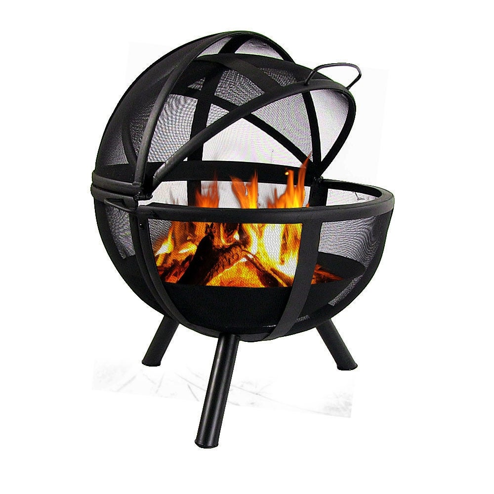 sunnydaze 30 inch sphere flaming ball fire pit with protective