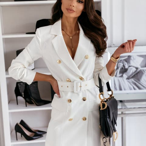 Color Suit Dress Jacket With Long Sleeves And Belt
