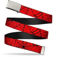 Marvel Comics Blank Chrome  Buckle Spider web Red Black Webbing Web Belt - S
