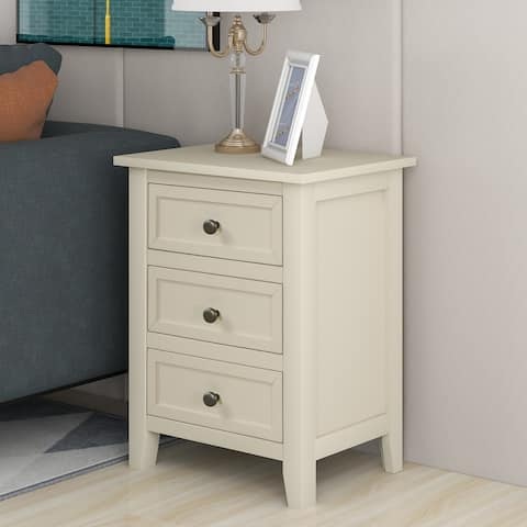 Beige 3-drawer End Table Nightstand